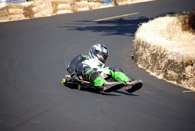 Kyle taking the final turn, coming across the finish line. Both Kyle and Christian Conaway, of Fillmore, participated in the Maryhill Festival of Speed / IGSA World Championships held August 27-31. The race was near the Columbia River Gorge, in Goldendale, Washington.