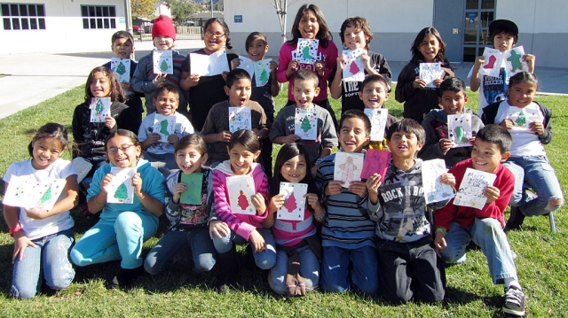 Students from Mountain Vista School wrote letters to our soldiers serving overseas. Over five classes wrote letters, wishing our heroes a happy holiday and thanking them for all that they do for our country. Pictured are students from Mrs. Castro's 3rd grade classroom posing with their holiday cards.