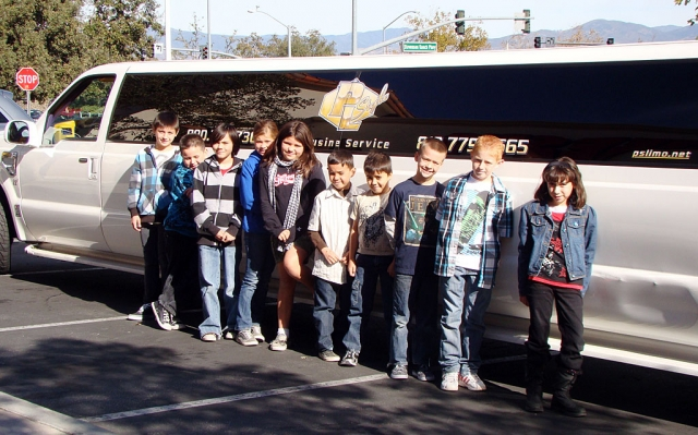 "San Cayetano students who worked hard at fundraising earned the ""Limo Lunch"" Prize. They rode in the limousine to Valencia and enjoyed lunch and game playing at Chuck E Cheese."