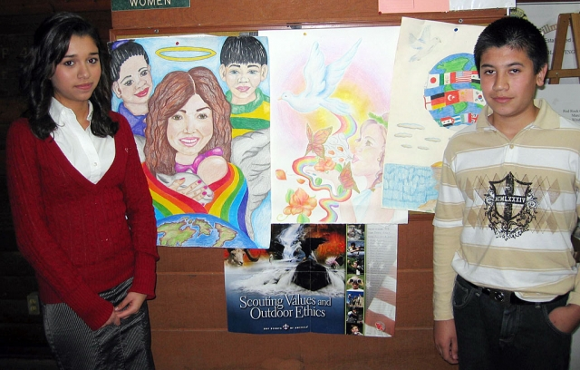 Peace Begins With Me - Jaime Valdovinos, right, is the winner of the Fillmore Lions Club Annual Peace Poster Contest. Pictured left is Marrianna Gonzalez.