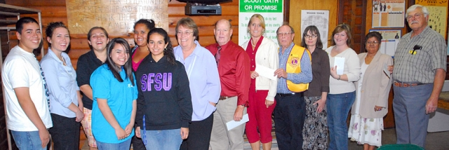 Fillmore Lions Club presented checks to the following groups this past Monday evening: Santa Clara Valley Hospic, Fillmore Friends of the Library, One Step A la Vez mentor program, Sespe Players.