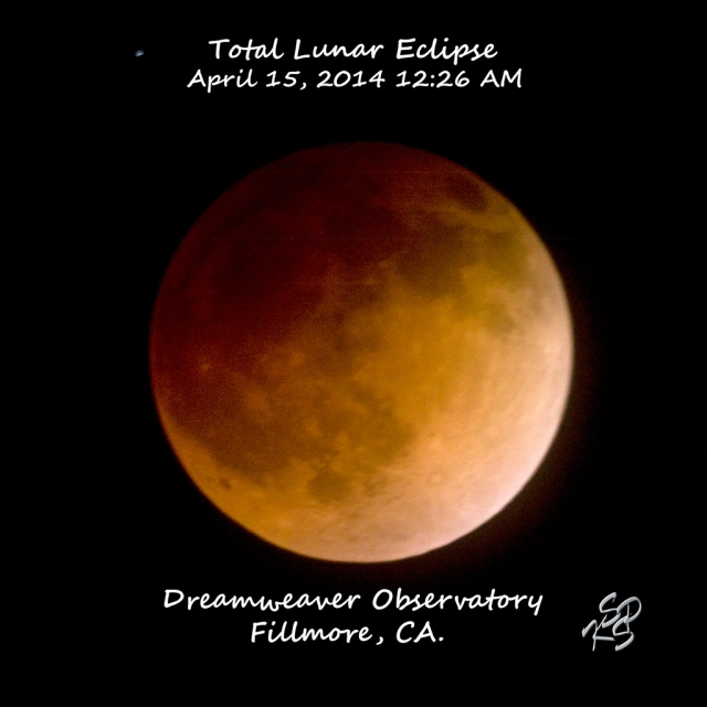 Moon in total eclipse. Taken with a 1250 mm telephoto lens @ f/10. Exposure on the eclipsed moon was 2 seconds. Photo courtesy KSSP Photo Studios, Fillmore, CA.