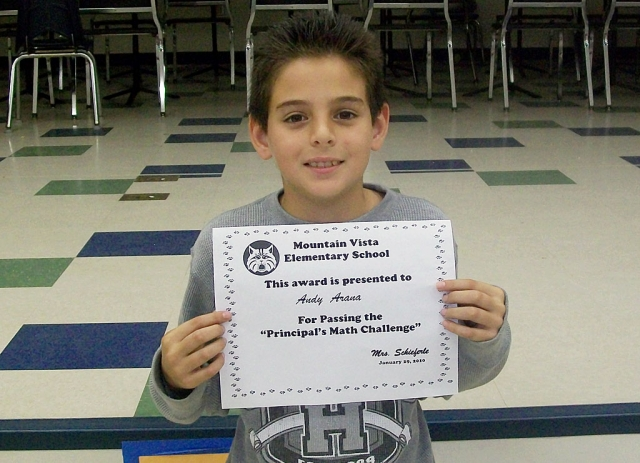 5th Grade - Andy Arana was the only 5th grade student to pass the challenge.