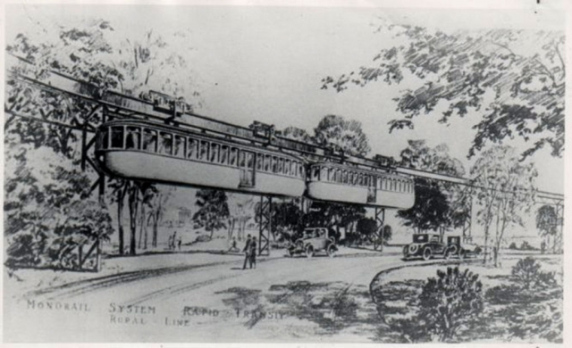 Conceptual drawing of monorail. Photos courtesy Fillmore Historical Museum.