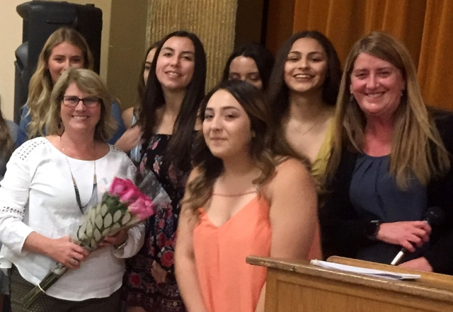 On Thursday, May 23rd at the FHS Mother/Daughter Banquet, the senior class took the time to recognize and thank FUSD Secretary Barbara Lemons (holding flowers) for her years of service to the district. Barbara is retiring after 21 years. Photos courtesy Katrionna Furness.