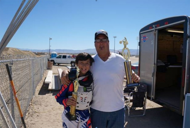 Blake Boren and his dad take av motoplex by surprise on sunday at the motocross races. Blake raced kids support