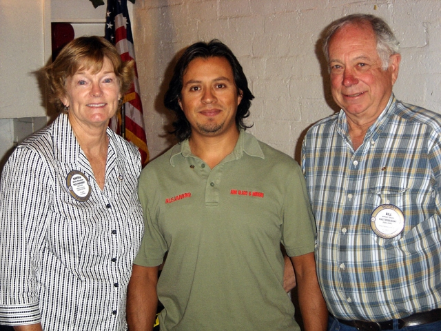(l-r Martha Richardson, Past President, inductee Alejandro Nieto, a residential glazer for Aim Glass & Mirror, and President Bill Shiells) The Rotary Club of Fillmore-Noontime has inducted a new member.