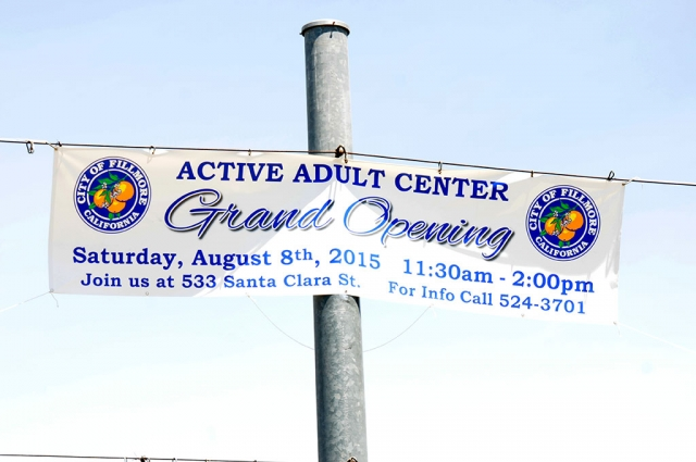 The City of Fillmore Active Adult Center GRAND OPENING is Saturday, August 8th, from 11:30 a.m. to 2:00 p.m., 533 Santa Clara Street. See page 12 for more details.