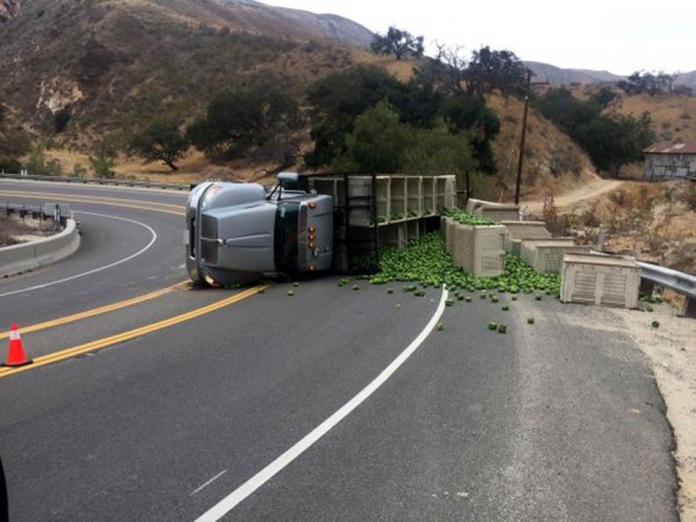 On Tuesday, July 3rd around 7am on Highway 23 between Fillmore and Moorpark the road was closed for several hours due to an overturned truck filled with bell peppers. There were no injuries reported and CHP was able to open the roads after 11am later that day. Photos courtesy CHP.