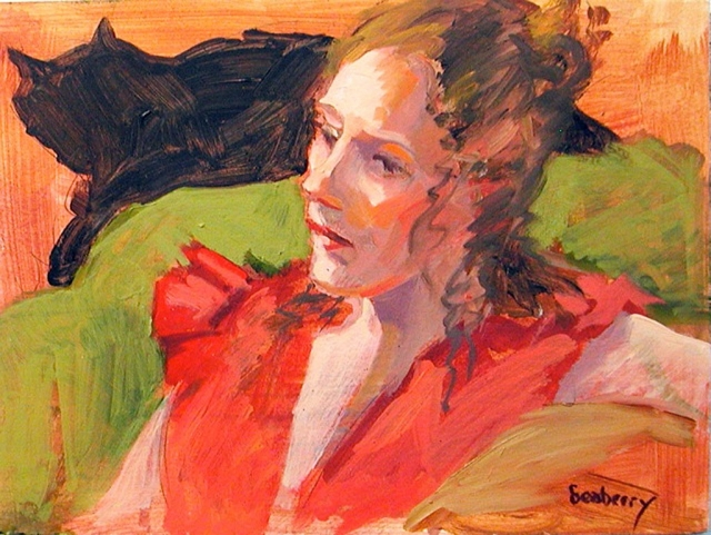 """Mandy in Red"" oil, Susan Seaberry"