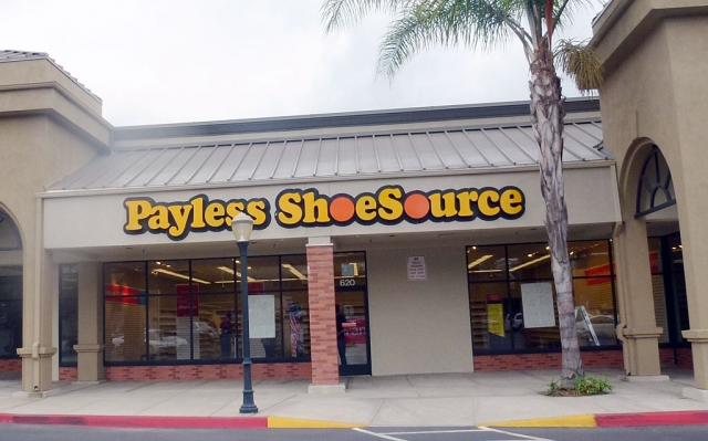 "Fillmore's Payless ShoeSource, located in the Balden Center, has closed. The sign in the window reads ""Go to Santa Paula Store""."