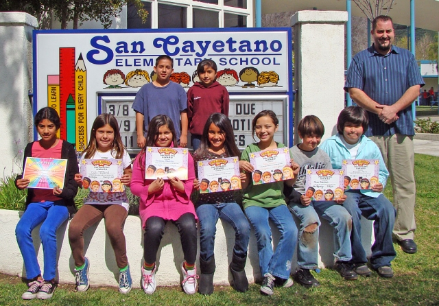 Principle Todd Schieferle is show with the March Peacebuilders from San Cayetano Elementary.