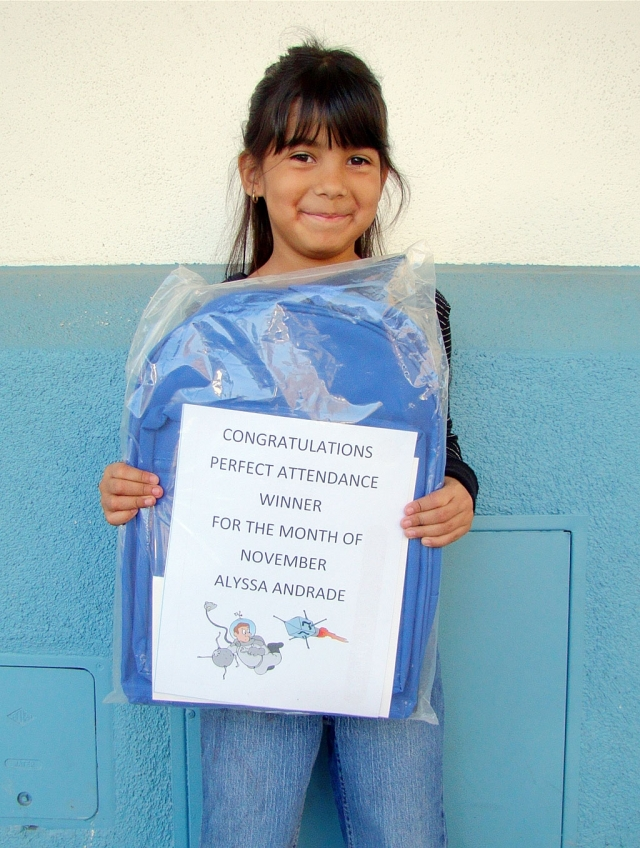 San Cayetano's Perfect Attendance winner for the month of November is Alyssa Andrade from Ms. Swensen's class.