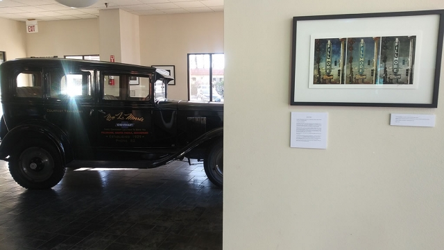 Triptych photo at the William Morris Chevrolet showroom, with the vintage 1927 Chevy sedan in the background. All photos by Phil Fewsmith.