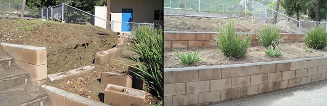 Before and After: (left) Retaining walls crumbling and (Right) New Retaining Walls have been installed.