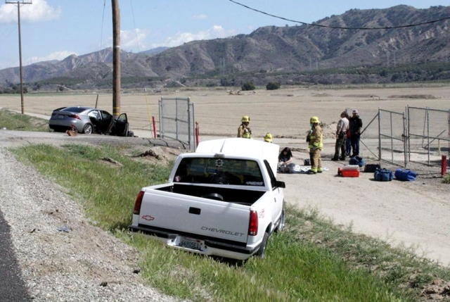 On Saturday, March 13th at 1:10pm, VCFD, CHP, Ventura County Sheriff 's Department and AMR Paramedics were dispatched to a possible head on collision located Just east of Center Street / East Telegraph Road near Piru. Arriving fire crews reported two vehicles, a grey Lexus and a white Chevrolet truck. One vehicle struck a power pole and another vehicle reported off the roadway. All occupants were reported to be out. One ambulance transport was made, condition unknown. One Ventura County Sheriff's Department unit was on scene until CHP arrived on scene. Cause of the crash is under investigation. Photo is for area reference. Courtesy Angel Esquivel-AE News.