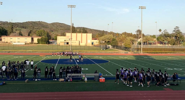 This Past Friday, April 13th Fillmore High School hosted their annual Powder Puff game. The Junior class took on the Senior Class in a battle on the football field. While the girls played football the boys cheered them on. The Senior class defeated the Juniors 8-0. Photo courtesy Katrionna Furness.