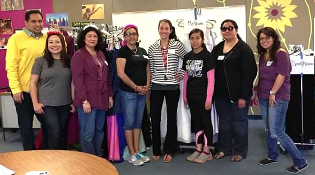 Prom Dress Project led by Cumulus Radio Personality Nancy Rodriguez with Big Brothers Big Sisters staff and volunteers at Fillmore High School.
