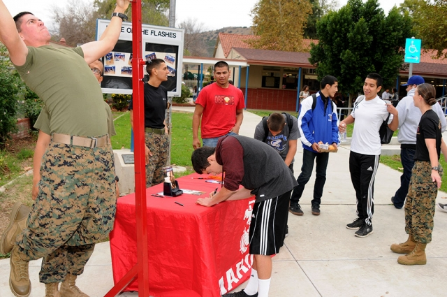 The Marine Pull-up Challenge took place at Fillmore High School on Friday, December 5th. Participants were taught how to do a 'proper pull-up'.