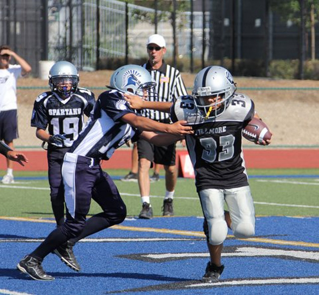 Fillmore Raider Mighty Mites played Santa Clarita Wild Cats this past Saturday. Raiders lost 32-8. Photo's courtesy Crystal Gurrola.