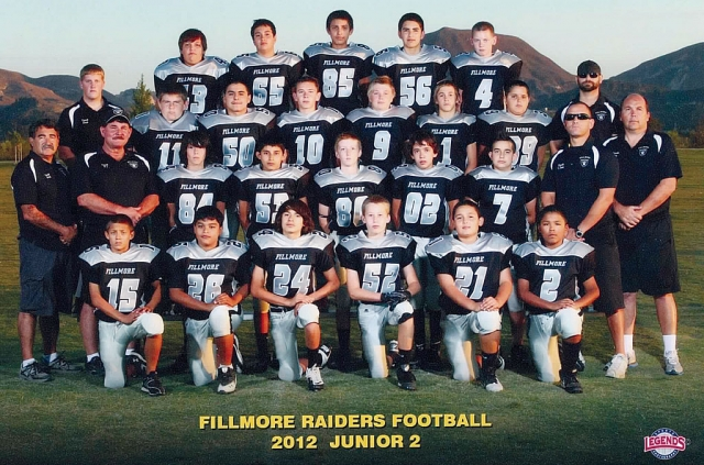 The Fillmore Raiders Junior 2 won the Championship game 46-14, last Saturday against Valley. Top row (l-r): Brandon Castillo, Cameron Maina, Alex Vargas, Sammy Dominguez, Carson Davis. Second row (l-r): Coach Chad, Tyler Bode, Christian Barajas, Tyler Stump, Will Boucher, Vincenzo Granatelli, Daniel Gonzales, Coach Mark Zone. Third row (l-r): Coach's Keith Gurrola, Rj Stump, Dylan Satterfield, Fernando Gonzalez, Michael Smith, Michael Zone, Coach's Cliff Zone and Joe Granatelli. Bottom row (l-r): Angel Velez, Cesar Leiva, Chepes Perez, Nick Walker, Christian Teixeira, and Joshua Sandoval. Not pictured Christian Cisneros.