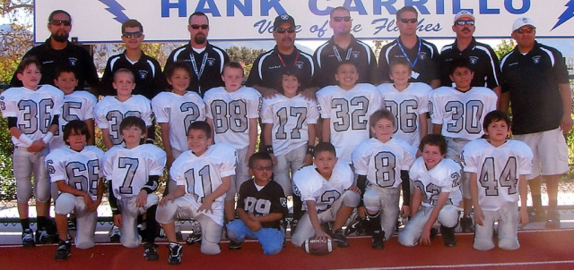 "2010 Mighty-Mite Silver: Pictured above: Head Coach: Miguel Lagunas; Assistant Coaches: Hugo Virto, Louie Rodriguez, Hector Sierra, JT Wyand, Eric Crawford, Rudy Alcantar, James Reiman, Kevin ""Chalupa"" Brock and Alfred Jimenez. Players: #2 Joseph Sierra, #3 Justin McElroy, #7 Anthony Campos, #8 Ty Wyand, #11 Jimmy Carlos, #15 Eduardo Jimenez, #17 Joshuah Lagunas, #22 Ryan Gonzalez, #30 Nicholas Jimenez, #32 Hugo Virto, #33 Reese Satterfield, #35 Gavin Gunter, #36 Christian Alcantar, #44 Dylan Sierra, #66 Michael Rodriguez, #86 Connor Reiman, #88 Dylan Crawford. Team Mascot: #99 Nico Virto. Mighty-Mite Silver Cheer: (not pictured) Coaches: Rebecca Ibarra, Bandi Hill, Gabi Sandoval; Cheerleaders: Olivia Lagunas, Angelina Delgadillo, Hennassy Marquez, Makenna Ozuna, Desiree Almazan, Siobhan Sandoval, Arissa Ramos, Alena Castaneda, Angelina Mynatt, Madyson Bishop and Linique Aguilera. The Fillmore Mighty Mite Silver Raiders are advancing to the Gold Coast Youth Football League Superbowl to be held at Westlake High School 9 am November 20, 2010. This is after an exciting victory score of 20-14 against the Moorpark Packers. This is a hard working, dedicated team of 6, 7, 8 year olds, who went 9-1 for the 2010 season. Good Job Boys! Please show your Fillmore spirit and come out and support these boys!"