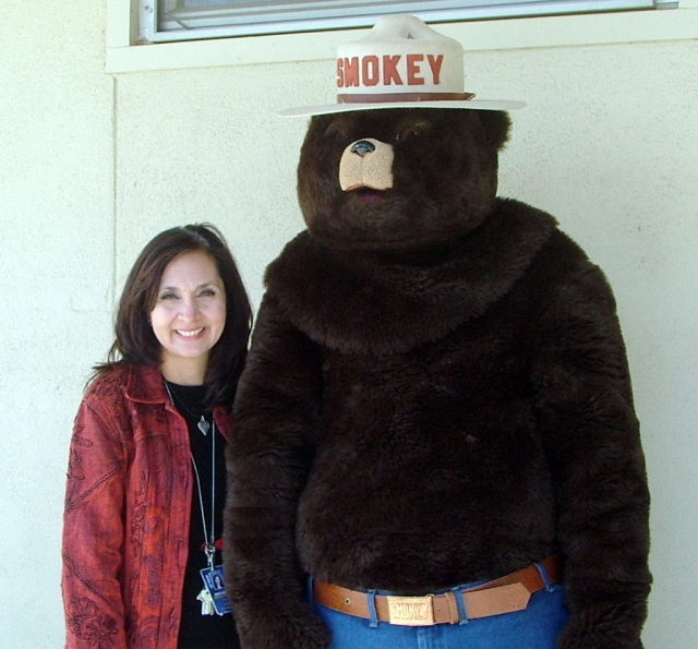 Smokey the Bear came to visit Sespe Elementary. Above is Sespe principal Mrs. Hibbler with Smokey.