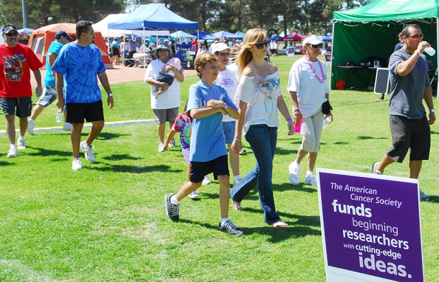 Hundreds of people packed Shiells Park on Saturday for the 5th Annual American Cancer Society Relay for Life fundraiser. Members of 45 teams from Fillmore and Piru walked laps around the field for 24 hours, beginning at 10 a.m. Each team consisted of 10 members, each trying to raise a minimum of $100 from sponsorships. The goal this year was to raise $75,000 towards the society's goals: advocacy, education, research and support. The first hour of the relay was led by approximately 60 cancer survivors. No fundraising amounts were available at press time.