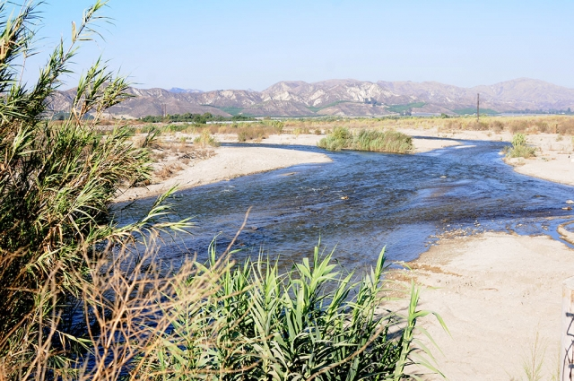 Water is being released from Lake Piru in significant amounts. The photos above show the water flow under the bridge across the Santa Clara River at Torrey Road, Piru.