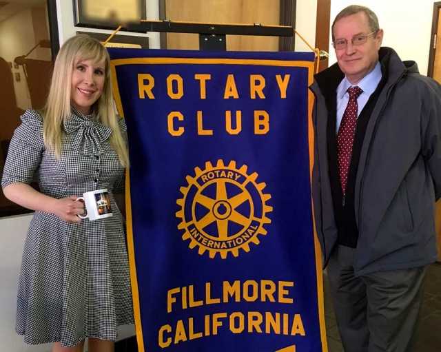 Ariel Bertsch of Help Unlimited was presented a Rotary mug from program chair, Kyle Wilson. Her company provides in-home care to seniors in Ventura and Santa Barbara counties.
