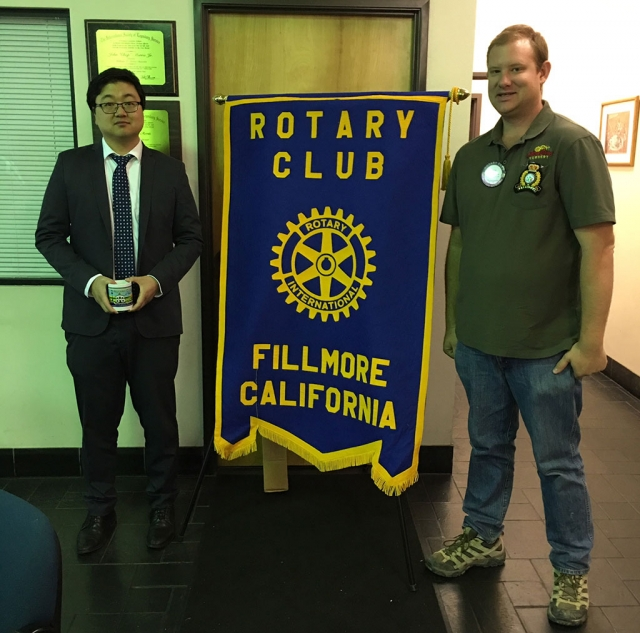 Fillmore Rotary Club Learns Cannabis Laws. Danny Lo, Ventura County Deputy District Attorney and Prosecutor on Cannabis Law, is pictured with Rotary Club President Andy Klittich, right. Lo presented to Rotary Club the rules and regulations for growing, buying, and selling marijuana. He also stated that the prescription Cannabidiol has not yet been approved by the FDA. Fillmore has banned the selling of cannabis, but it can be purchased in other cities in the county. Photos courtesy Martha Richardson.