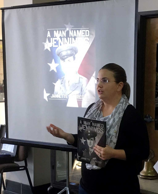 Jeanette Jaurequi spoke at Rotary about her many interviews with Veterans in the county and the books she has written about some of them. It was interesting to hear the stories from men who thought they hadn't done anything special.