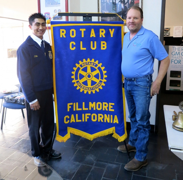 Chris Berrington, of Fillmore FFA, and the newly elected South Coast Regional Vice President visited Fillmore Rotary last week. Scott Beylik invited him to speak.