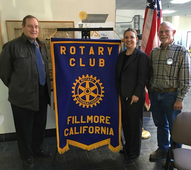 VC Area Agency On Aging Speaker Addresses Rotary. Kyle Wilson Rotary President, Jannette Jauregui speaker from the Ventura County Area Agency on Aging, and Bob Hammond.