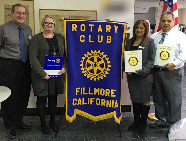 New members inducted into Fillmore Rotary by President Kyle Wilson, Alicia Hicks, Jennie Andrade and Ernie Villegas.