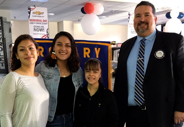 Rotary honored the Sierra High School Scholarship recipients. Adrian Palazuelos introduced the students, Alexus Alvarenga, Desirae Topete, and Jackqueline Aguayo. Catherine Romo is not pictured. Photo courtesy Martha Richardson.