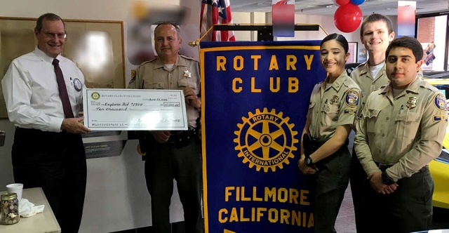Several months ago the Rotary Club challenged the Explorers of Post #2958 if they could raise $10,000, toward their new van, then the Club would match it. They reached their goal and the Club awarded them with $10,000. Kyle Wilson, Deputy Leo Vazquez, Explorers Danielle Ramirez, Matthew Hammond and Isaiah Galvez. The Rotary Club Fireworks Booth will be at the corner of Hwy 126 and E Street. It is the first booth as you enter Fillmore from West to East; on the right side.