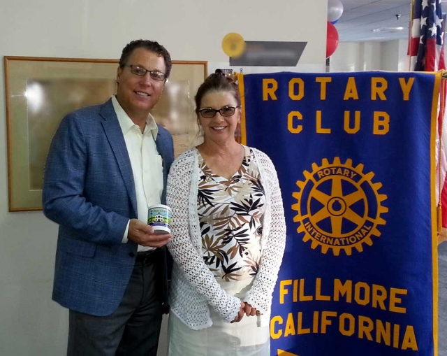 (l-r) Darren Kettle, Executive Director of Ventura County Transportation Commission, who presented a program for the Rotary Club of Fillmore, and Julie Latshaw President.