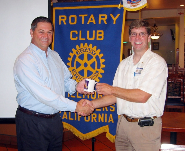 On Tuesday, October 18th the Rotarians heard a presentation by Ed McClements (left) of Barkley Insurance on the Hearth Care Reform bill. Mr. McClements explained 10 keys to understanding employer Play or Pay rules in Health Care Reform. Also pictured is Rotary President Sean Morris.