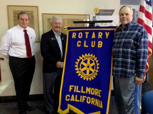 The Rotary District Governor, Jim Bell attended the recent Rotary meeting and inducted new member Dave Andersen. Pictured (l-r) are Kyle Wilson, President, District Governor, Jim Bell and new member Dave Andersen.