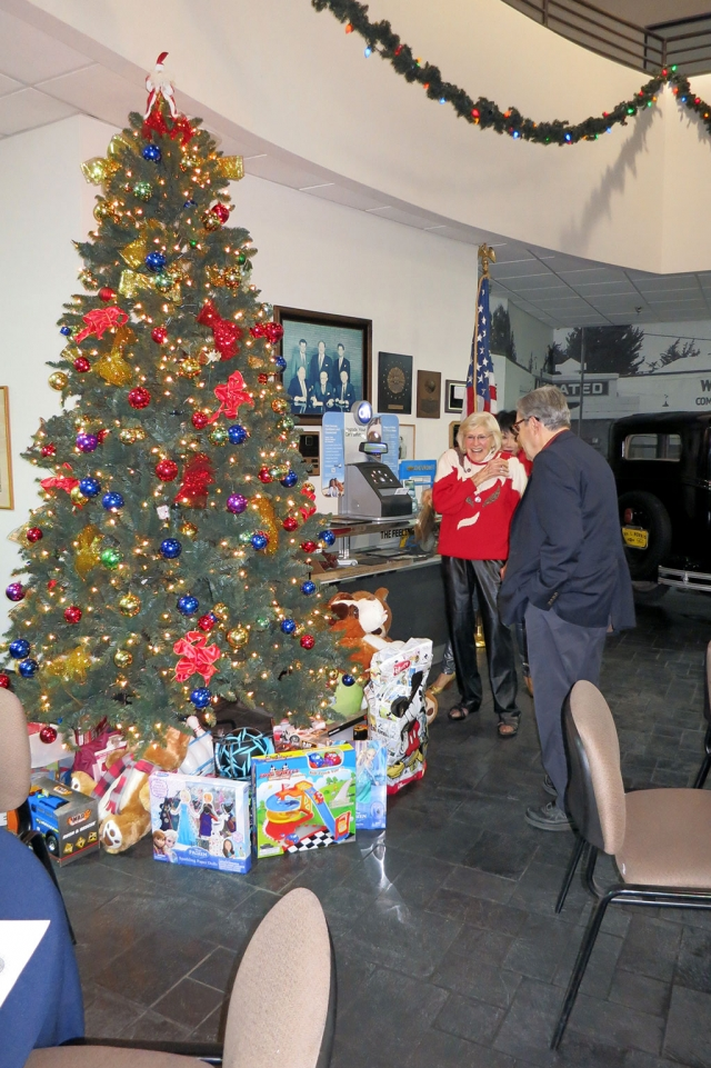 Ruthie and Don Gunderson enjoyed looking at the toys donated by the Rotarians, for the Toy Drive.