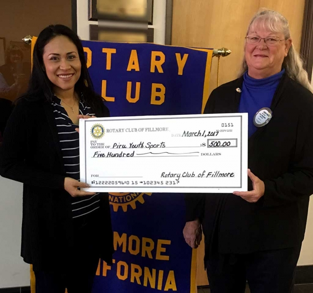 Lupe Hurtado from Piru Youth Sports received a check from Fillmore Rotary for $500. This year they have 150 youths.