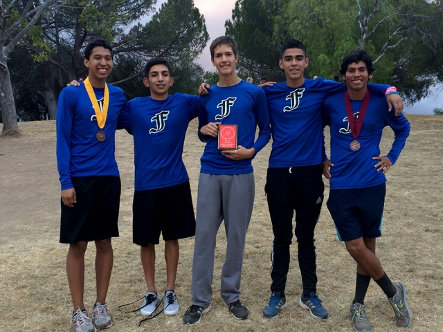 Boys Varsity places 5th at the Ventura Country Cross Country Championships. (l-r) Francisco Erazo, Jorge Hurtado, Luis Landeros, Ismael Dominguez and Jose Rodriguez