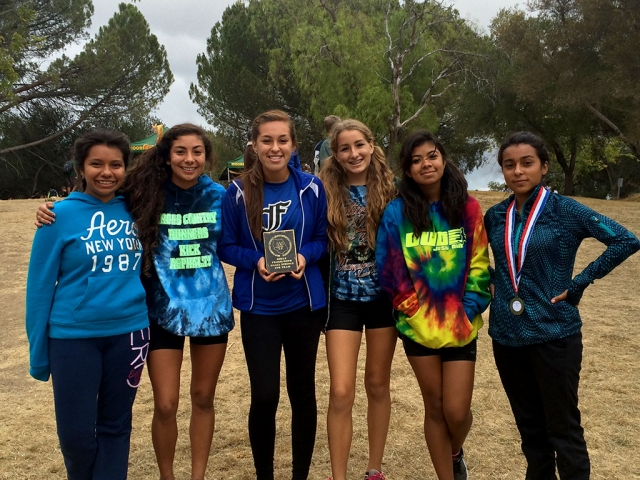 Frosh Soph Girls take 4th place at the Ventura County Cross Country Championships. (l-r) Briana Ruiz, Lauren Magdaleno, Alyssa Ramirez, Grace Garnica, Luz Ruiz and Jackie Chavez