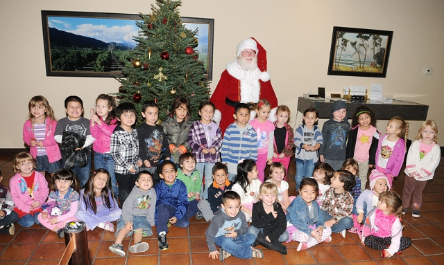 Children from Sonshine Preschool visited Santa Claus at Santa Barbara Bank and Trust Wednesday morning.