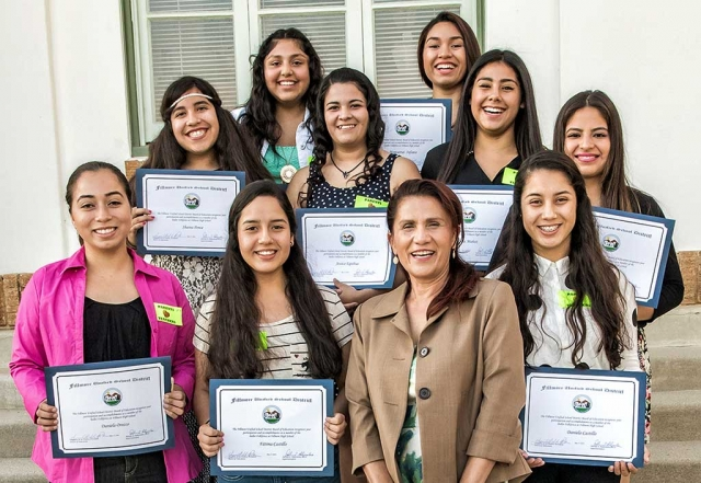 The FUSB recognized dance advisor Lourdes Juarez and the Fillmore High School dance group Ballet Folklorico at Tuesday's meeting. Each recipient received a Certificate of Recognition. Those receiving were: Daniel Castillo, Fatima Castillo, Esmeralda Ceballos, Jessica Equihua, Melissa Gonzalez, Montserrat Infante, Isela Munoz, Daniela Orozco, Shaina Ponce and Leslie Ramos. Photo courtesy Bob Crum.