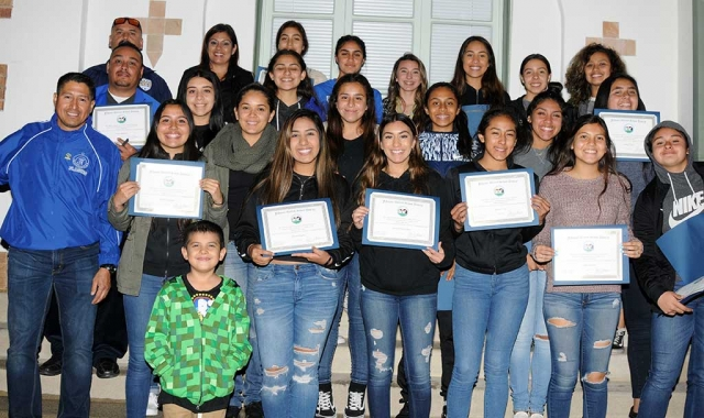 Fillmore High Girls Soccer recognized as CIF SS Division 7 Champions at Tuesday night's School Board meeting.