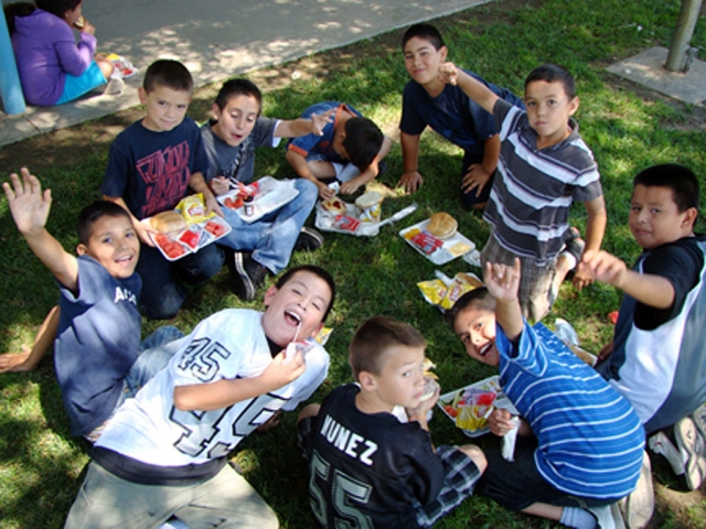 San Cayetano students back at school enjoying lunch on a beautiful day in Fillmore.