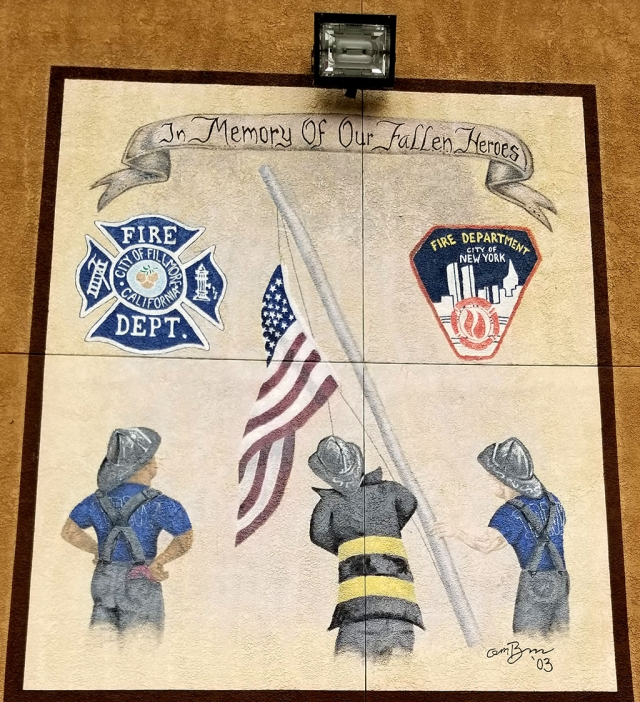 A memorial painted on the side of Fire Station 91 in honor of our fallen heroes.