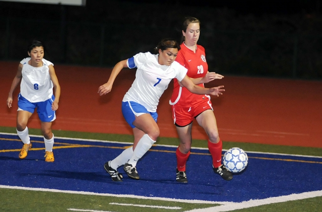 Jasmine Medina #7 defends the ball agianst Grace Bretheren. Fillmore lost 2-0.